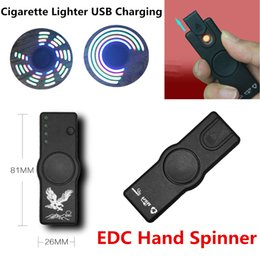 Wholesale Usb Electronic Cigar - Plastic Creative Fidget Hand Spinner USB Charging Lighters Perfect 2 Uses Heating Wire Flameless Electronic Product Cigarette Cigar Lighters