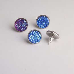 Wholesale Wholesale Stainless Steel Studs - Nice handmade resin round druzy earrings trendy simple stainless plated wholesaling resin stone earring for lady
