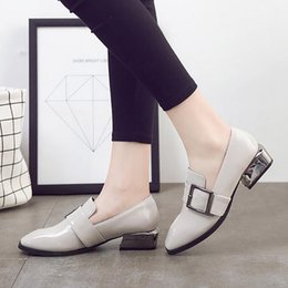 Wholesale Ladies Flat Belt Shoes - Fashion brand design shoes woman gray black slip British style Oxford footwear for lady buckle belt women squard toes pea flats