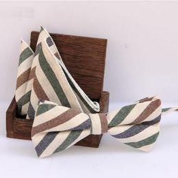 Wholesale Butterfly Bowtie - plaid Handkerchief set BowTie bowknot England style cotton Jacquard Woven Men Butterfly Bow Tie Pocket Square Suit