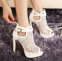 Wholesale Sexy Black Shoes Sandals - Fashion Sexy High Heel Sandals Elegant Lace Pierced Women Sandals White Black Platform Sandal Summer Women Shoes Size 35-40