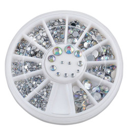 Wholesale Manicure Wheel - 5 Sizes White Nail Art Decorations 3D Nail Stickers DIY Nails Tools Glitter Jewlery Rhinestone Wheel Charm Manicure Accessories