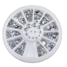 Wholesale Manicure Wheel - 5 Sizes White Nail Art Decorations 3D Nail Stickers DIY Nails Tools Glitter Jewlery Rhinestone Wheel Charm Manicure Accessories