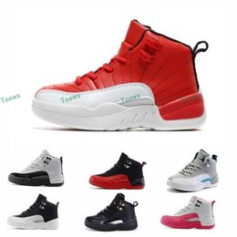 Wholesale Youth Skis - 2017 Retro 12 XII French Blue Pink Master OVO Kids Basketball Shoes Girl Boy 12s Sport Shoes Youth Basketball Sneakers 28-35