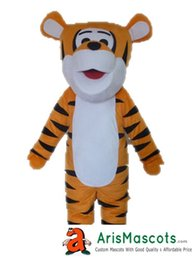 Wholesale Tigger Outfits - 100% real photos happy Tigger mascot costume outfit dress customized animal mascots fur mascotte advertising mascota