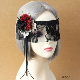Wholesale Fancy Tassels - Halloween Xmas Masquerade Party Ladies Black Lace Veil Flower Tassel Half Face Masks Fancy Dress Club Lolita Face Mask Decor