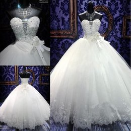 Wholesale Elegant Wedding Gowns Bling - 2017 Spring Princess Wedding Dresses Elegant Ball Gowns Lace Bling Beaded Crystal Sweetheart Neck Lace Up Puffy Quinceanera Tulle Dress