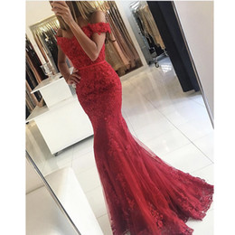 Wholesale Olive Green Short Dresses - 2017 Prom Gowns Vintage Red Vestidos De Fiesta Off the Shoulder Sweetheart Appliqued Short Sleeve Lace Mermaid Evening Dresses