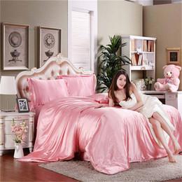 Wholesale Quilt Cover Black Queen Size - Wholesale-2016 Hot Silk Quilt Black Satin Sheets Bed Linen Cotton Solid Satin Duvet Cover Set twin King Size Bedsheet 4pcs of Bedding Sets