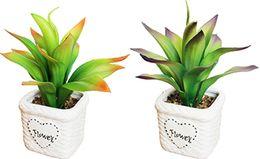 Ceramiche piante artificiali online-Spedizione gratuita in ceramica artificiale bonsai vasi bianchi con vivid dinamiche foglie piante fai da te piccolo fioriera piante grasse ornamenti decor