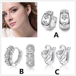 Wholesale Crystal Earring Hoop Steel - 2017 Luxury Imitation Rhodium Plated Hoop Huggie jewelry Korean Style Crystal Zircon Diamond Round Circle earrings