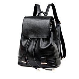Wholesale Girls Strings - Black Leather Backpack Women Drawstring School Bag For Girls 2017 Fashion Solid Softback Backpacks Brand mochila mujer
