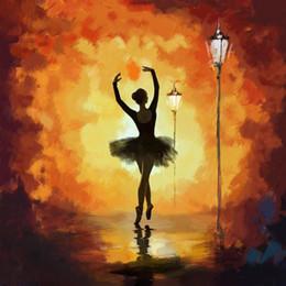 Dipinti astratti moderni donne online-Dancer paintings Ballet modern abstract art Pittura a olio donna dipinta a mano su tela