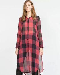 blusa con botones rojos Rebajas 2016 Nuevas Mujeres del Verano Sexy Larga Red Plaid gasa Blusas de señora de manga larga cuello Turn-down Plus Size botón abierto camisa de la ropa