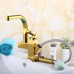 Wholesale Polished Gold Faucets - Kitchen Faucets gold plated high quality brass gold faucets hot selling pull out kichen faucets