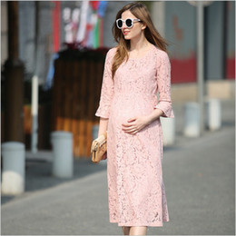 Wholesale Dress Pink Pregnancy - Fashion Maternity Dresses Lace Pink Maternity Photography Props Sexy Pregnant Dress Pregnancy Dress for Maternity Photo Props