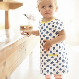 Wholesale Kids Pocket Dress - Summer Dress Girl 2017 Brand Casual Kids Costume for Girls Dresses Cotton Short Sleeve Print Dot with Pocket Baby Girl Clothes