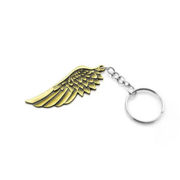 Wholesale Metal Charms Pendants Wings - Vintage cooal punk Metal Angel Wing keychain retro unique alloy Feather pendant Key ring chain charm keyring trinket Men Gift