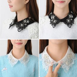 Wholesale Sleeveless Woman Blouse Collar - Women Girls Chic Faux Fake Shirt Collar Detachable Necklace Removable Choker Chiffon Fashion Beading Handmade Blouse Collar