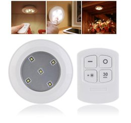 Wholesale Battery Nightlights - LED Puck Night Lights Kitchen Wireless Remote Control AA Battery Powerd Lighting For Cabinets Closets Children Nightlight