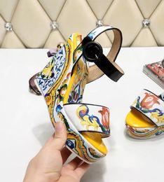Wholesale Colorful Platforms - Colorful Gladiators Summer Shoes High platform Women Sandals Open toe Buckle Strap Ladies Sandalias Wedge Heel