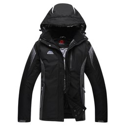 Wholesale Men Mountain Jacket - Wholesale- Black Ski Jacket Men Outdoor Waterproof Mountain Skiing Jackets Thermal Thicken -30 deegree Snow Snowboard Jackets Plus Size XXL