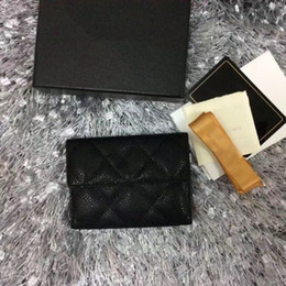 Wholesale Black Diamond Credit - Free shipping Classic famous brand caviar zipper Card ID Holder women wallet real leather purse Luxury diamond lattice card bag