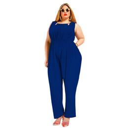 Wholesale Women Silk Jumpsuit - Wholesale- Jessie Vinson Fashion Women Sleeveless Solid Milk Silk Jumpsuit V-neck Back Ladies Long Pants Rompers Plus Size Playsuit