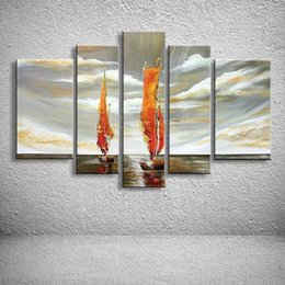 Wholesale Oil Paint Sailboat - 5 Panels Wall Painting Abstract Modern Seascape Boat Oil Acrylic Paintings Home Decor Canvas Art Pictures Sailboat Artworks