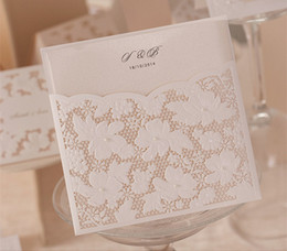 Wholesale Pearl Wedding Invitation Cards - Wholesale- Pearl Wedding Invitations White Lace Hollow Wedding Card Design Foil Stamping Uneven 250g Paper Weddings #W1101