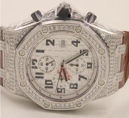 Wholesale Diamond Offshore - Royal high quality Luxury mens watch diamond bezel brown noble leather band royal offshore os quartz movement stopwatch original clasp dress