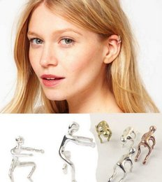 Wholesale Earring Climbing - 2017 Hot UK Hot Silver & Gold Climbing Man Naked Climber Punk Ear Cuff Helix Cartilage Earring free ship