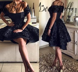 Wholesale Gothic Short Prom Dresses - Little Black Gothic Short Prom Dresses Off Shoulder Short Sleeves 2017 High Low Evening Gowns Arabic Saudi Dubai A Line Cocktail Dress Cheap