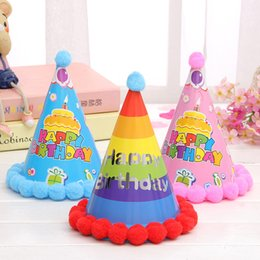 Wholesale Happy Birthday Crown - Dot Stripe Hat Handmade Kid Happy Birthday Imperial Crown Pattern Cap For Children Gift Party Decorate Supplies Colourful 09hj C