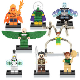 Wholesale Super Small - bricks minifigures Heroes Super-Villains Sinister Six Vulture Kraven Sandman Mysterio Electro Small Action Figure Building Blocks Toys X0123