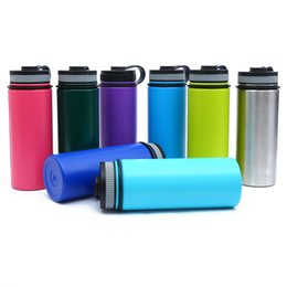 Wholesale Red Flasks - 18OZ Flask With logo Stainless Steel Vacuum Water Bottle Insulated 304 Water Bottle Wide Mouth Big Capacity Travel Water Bottles