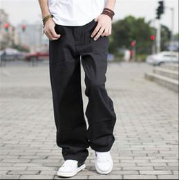 Wholesale Boys Baggy Jeans - Wholesale-Black hip hop jeans baggy style loose pants for boy rap jeans mens fat big trousers hiphop long trousers large