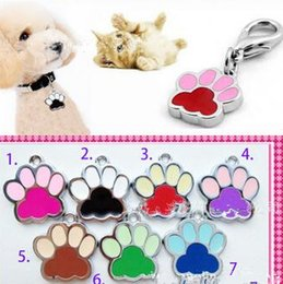 Wholesale Wholesale Small Metal Pendants - Wholesale dog tags paw pendant paint for dog cat collar charms small 10pcs lot,mix color ,six color is available
