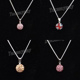 """Wholesale Pink Rose Choker - 24pcs lot Pink, Champagne, Rose Pink, UK flag Crystal Disco Ball Choker 18"""" Silver Plated Link Chain Necklace For Present"""
