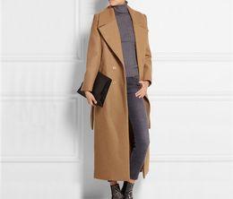 Casacos de caxemira de lã feminina on-line-nova Moda Longo Casaco De Lã Mulheres de Grandes Magro Cashmere OverCoat Jaqueta Design Femininos Maxi Casaco de Inverno