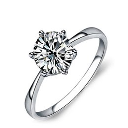Wholesale Diamond Ladies Ring Sterling - 2017 fashion sterling silver 925 ring jewelry solitaire big white CZ diamond engagement wedding ladies ring