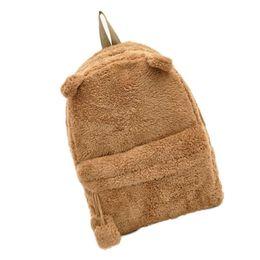 Wholesale Furry Animals - Wholesale- New Arrivals Panda Canvas Backpack Cute Bag Purse Animal Soft Ears Pom Poms Furry Zippers Bag Dec14