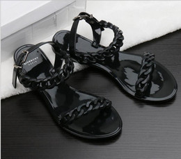 Wholesale Toe Europe Sandals - Europe and the United States new female plastic chain sandals candy color jelly chain flat open toe holiday sandals