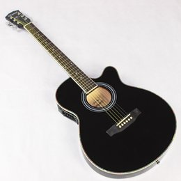 Wholesale Acoustic Electric Jumbo Guitar - Wholesale-Thin Body Electro Acoustic Electric Folk Pop Flattop Guitar Jumbo 40 Inch Guitarra 6String Black Light Built-in Tuner Cutaway