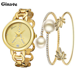 Wholesale Stylish Fashion Bracelet - 2017 New Ladies Fashion Watches 18K Gold Bracelet Set Watch Is Very Stylish And Beautiful Show Woman's Charm