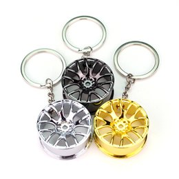 Wholesale Solar Led Car Wheel Lights - 3 Color Auto Parts Models Spinning Metallic Wheel Rim Keychain Key Chain Ring Keyring Carabiner Car Zinc Alloy Keychain Gift C89L