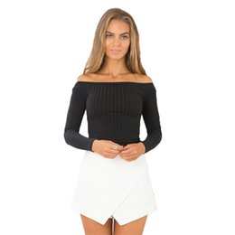 Wholesale Wholesale Off Shoulder Tees - Wholesale-2016 New Knit Slim T-Shirt Off Shoulder Slash Neck Autumn Casual Women Solid T Shirt Tee Long Sleeve Crop Mujer Top Shirts M0523