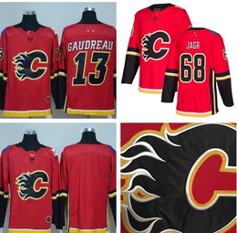 Wholesale Flame Logo - 2017 2018 New Style Calgary Flames Ice Hockey 13 Johnny Gaudreau Jersey 68 Jaromir Jagr Jersey Red Team Blank 100% Stitched Embroidery Logos
