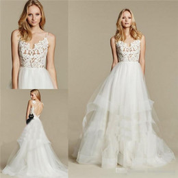 Wholesale Paige Dress - Hayley Paige Dreamy 2017 Boho Beach Bridal Gowns Lace Bodice Tiers Tulle Skirt Sexy Backless Bohemian Bridal Party Gowns Custom Made Cheap
