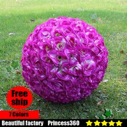 Wholesale Hanging Flowers For Parties - Elegant White Artificial Rose Silk Flower Ball Hanging Kissing Balls 15CM~60CM(6Inch~24Inch)rose Ball For Wedding Party Decoration F03-04